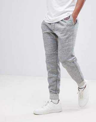 Abercrombie & Fitch Heritage Varsity Badge Logo Cuffed Joggers in Gray Marl