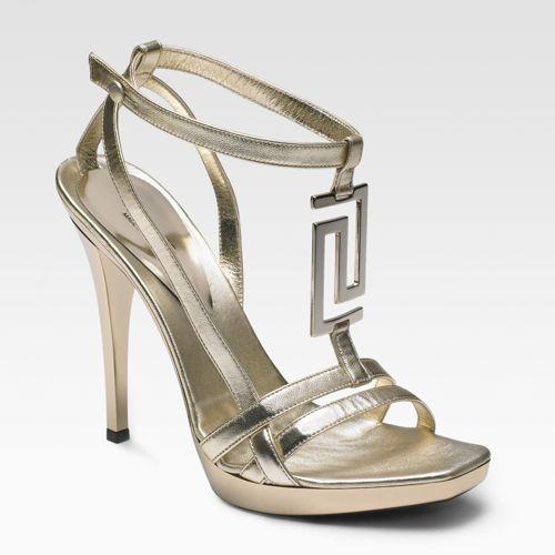 Versace Metallic Leather Platform Sandals