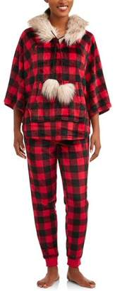 Secret Treasures Jammers women's buffalo plaid fake fur trimmed hooded pajama set