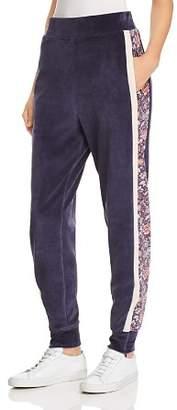Rebecca Taylor Side-Stripe Velour Jogger Pants