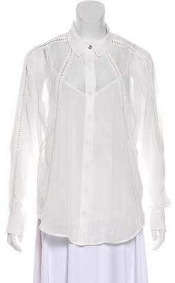 Andrew Marc Long Sleeve Sheer Blouse