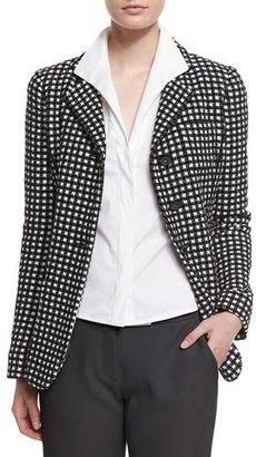 Armani Collezioni Long-Sleeve Three-Button Blazer, Black/White $1,395 thestylecure.com
