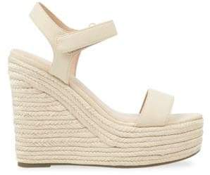 KENDALL + KYLIE Leather Wedge Espadrilles