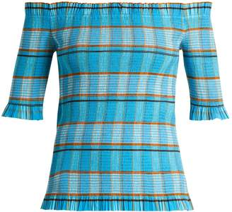 Diane von Furstenberg Horizon checked off-the-shoulder top