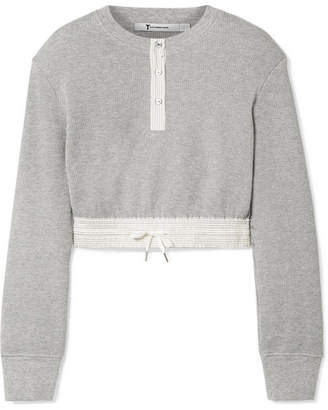 Alexander Wang Cropped Striped Poplin-trimmed Waffle-knit Cotton Sweater - Light gray