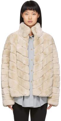 Yves Salomon Pink Rex Rabbit Fur Short Jacket