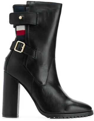 Tommy Hilfiger tricolour-stripe buckled boots