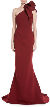 Jovani One-Shoulder Bow Mermaid Gown $595 thestylecure.com