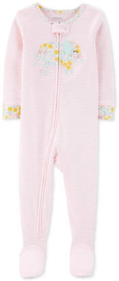 Carter's Carter Baby Girls 1-Pc. Cotton Striped Elephant Pajama