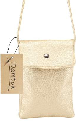 iDamtok Womens PU Leather 2 Layers Single Color Magnetic Closure Cellphone Pouch Crossbody Shoulder Bag, 6.3 inches