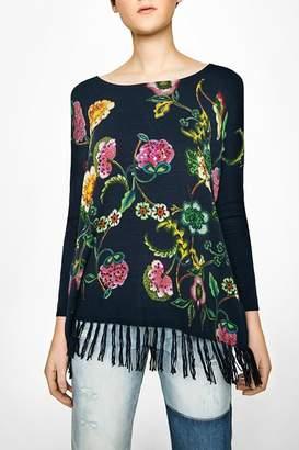 Desigual Fringe Floral Top
