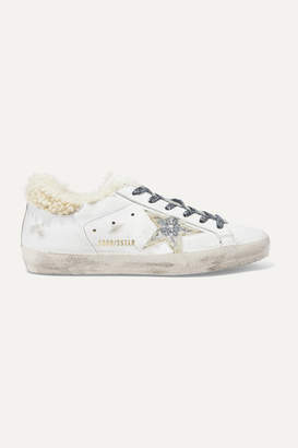 Golden Goose Superstar Shearling-lined Glittered Distressed Leather Sneakers