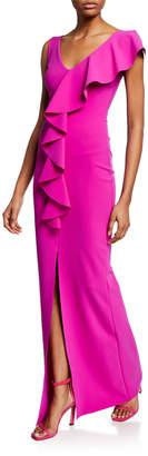 Chiara Boni Boudicea V-Neck Sleeveless Center Ruffle Gown w/ Front Slit