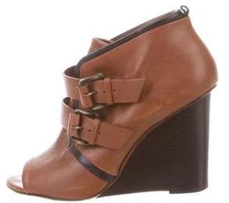 Derek Lam Leather Wedge Booties Brown Leather Wedge Booties
