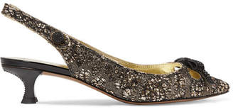 Marc Jacobs Abbey Crystal-embellished Glittered Brocade Slingback Pumps - Gold