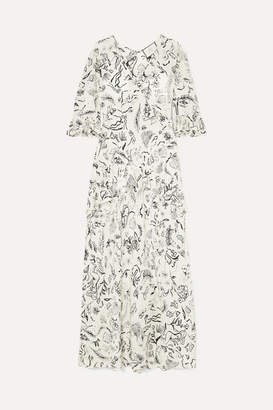 Rixo Laura Jackson Frieda Ruffled Printed Silk Maxi Dress - Cream