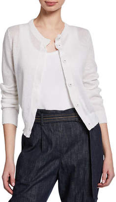 Brunello Cucinelli Linen-Silk Paillette Cropped Cardigan