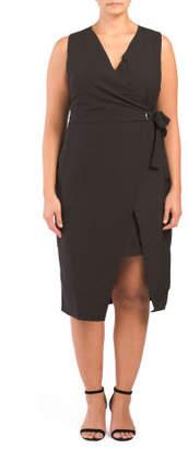 Plus Belted Midi Wrap Dress