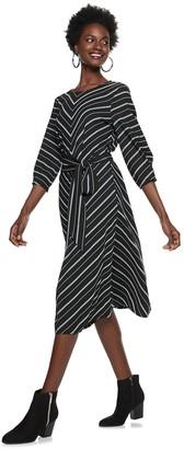 Nine West Women's Mitered Belted Dress