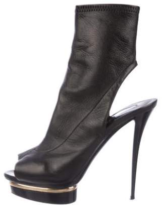 Le Silla Leather Cutout Booties Black Leather Cutout Booties