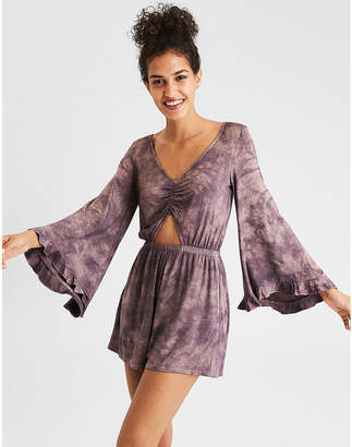 American Eagle AE Knit Ring Front Bell Sleeve Romper