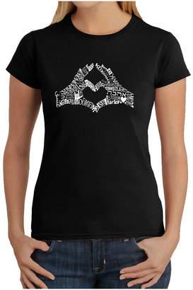 LOS ANGELES POP ART Los Angeles Pop Art Finger Heart Graphic T-Shirt