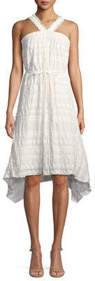 Natori Sleeveless Plisse Stretch-Cotton Dress