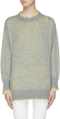 R 13 Reversible distressed cashmere sweater