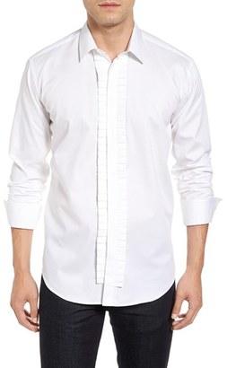 Men's Bogosse Alonzo Trim Fit Pleat Trim Check Jacquard Sport Shirt $185 thestylecure.com