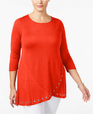 Belldini Plus Size Grommet-Trim Tunic
