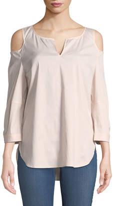 NYDJ Agnes Cold-Shoulder Poplin Blouse, Pink
