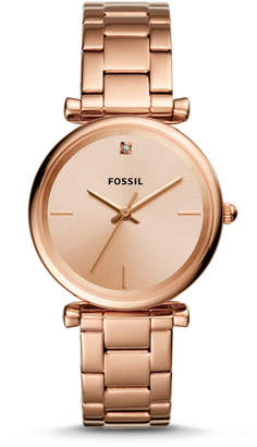 Fossil The Carbon Series Three-Hand Rose Gold-Tone Stainless Steel Watch