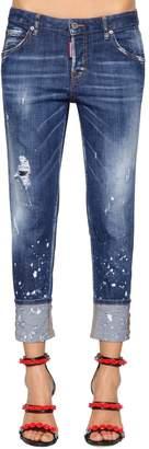 DSQUARED2 Hockney Spot Washed Cotton Denim Jeans