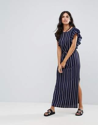 Liquorish Stripe Maxi Dress With Ruffle Sleeves
