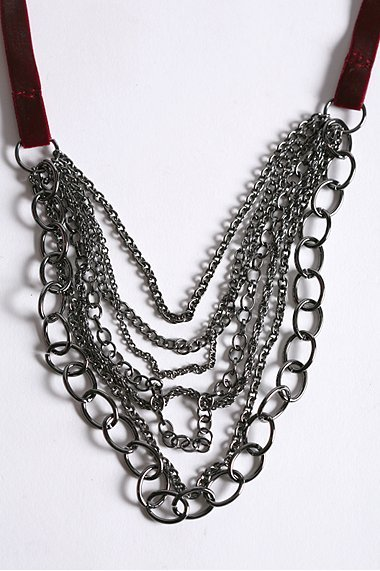 Draped Chains on Velvet Tie