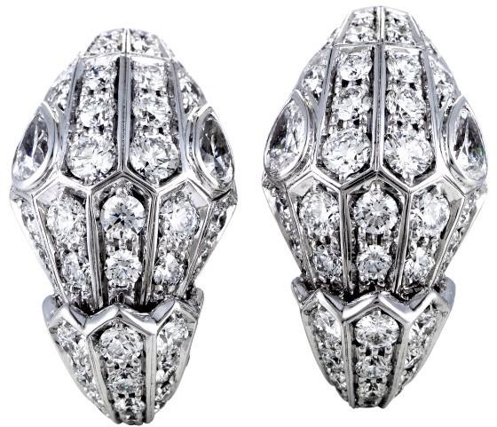 Bvlgari Bulgari Serpenti 18K White Gold Full Diamond Pave Earrings