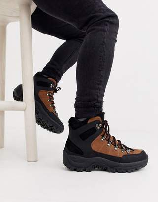Asos Design DESIGN hiker lace up boots in brown and black faux suede