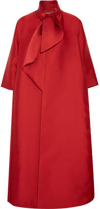 Merchant Archive - Oversized Pussy-bow Duchesse-satin Coat - Red