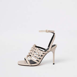 River Island Light pink strappy lace up heel sandals