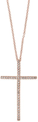 Effy Cross 14K Rose Gold & Diamond Pendant Necklace