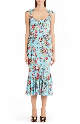 Women's Dolce&gabbana Floral Stretch Silk Flounce Hem Dress $4,295 thestylecure.com