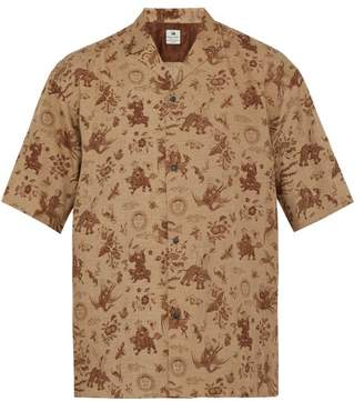 SASQUATCHfabrix. Old Nanpou Notch Collar Shirt - Mens - Brown Multi