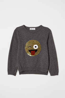 H&M Sweater with Sequined Motif - Gray