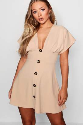 boohoo Horn Button Plunge Front Skater Dress