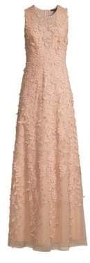 BCBGMAXAZRIA Women's Tulle Floral Embroidered Sleeveless Gown - Bare Pink - Size 8