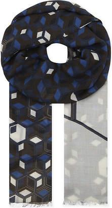 Eton Geometric modal and wool-blend scarf