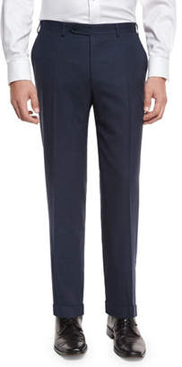 Canali Heathered Flat-Front Trousers, Navy