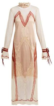 Jonathan Simkhai Lace Trimmed Satin Dress - Womens - Nude Multi