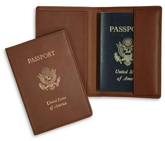 ROYCE New York Leather RFID-Blocking Gold-Accented U.S. Passport Case