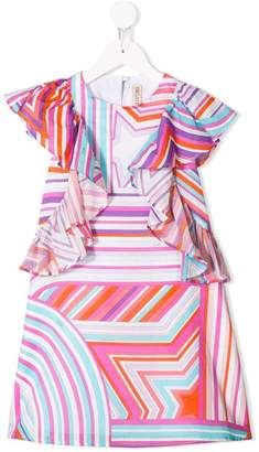 Emilio Pucci Junior star print ruffled dress